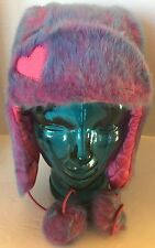 Claire's Kid Girl Winter Hat Faux Fur Pink Blue Quilted Lined Pom Toque Bonnet