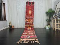 Handmade Moroccan Boujad Vintage Runner Rug 2x11'9 Geometric Red Pink Berber Rug