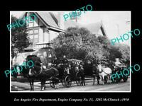 OLD HISTORIC PHOTO OF LOS ANGELES FIRE DEPARTMENT, THE No 15 ENGINE STATION 1910