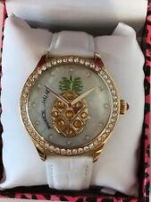 NWT Rare Large Betsey Johnson Jeweled Pineapple White Leather Band Watch