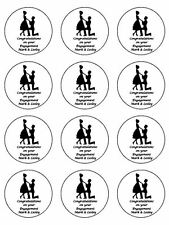 "12 x Engagement Personalised 2"" PRE-CUT PREMIUM RICE PAPER CupCake/Cake Toppers"