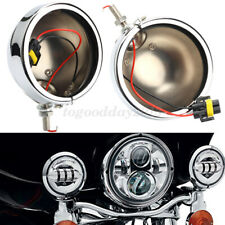 """2x 4.5"""" Motorcycle Fog Light Outer Cover Housing Bracket Trim Chorme For Harley"""