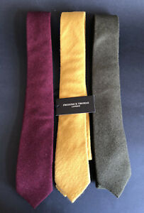 BUNDLE OF 3 PURE WOOL TIES BY FREDERICK THOMAS Yellow (BNWT), Green & Burgundy