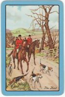 Playing Cards Single Card Old Named THE HUNT Hunting Horses Dogs Art Painting 1