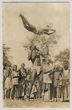 Africa YOUNG MEN'S ACROBATICS AKROBATIK JUNGER MÄNNER * Vintage 50s Ethnic RPPC