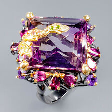Vintage31ct+ Natural Ametrine 925 Sterling Silver Ring Size 8.5/R121719