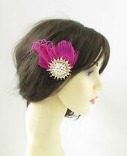 Hot Pink Gold Ivory Peacock Feather Fascinator Hair Clip Vintage Races 1920s 162