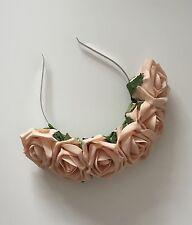 Champagne Rose Flower Floral Crown Headband Garland Festival Boho Vintage