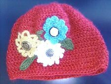 Women Adult Girls Red Flower Button Beanie Cap Handmade Crochet Knit Winter Hat