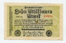 Old Germany 10 Million Mark Reichsbank Note German Inflation Money dated 1923