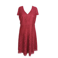 Laura Ashley Red Lace Floral V Neck Smart Occasion Party Flare Dress Size 16