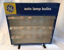 Vntg GE AUTO LAMP BULBS Automotive Light Bulb Display Store Cabinet Rack 3 Bin