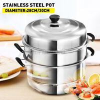 3 Tier Layer Stainless Steel Steamer Pot Set Kitchen Cookware Cooker Tool