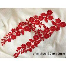 1 Pair Exquisite Floral Embroidery Lace Applique Sewing Patch DIY Dress Clothes