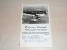 1940s Wartime German Propaganda Postcard Bombers Over England Of A Stuka By Ross