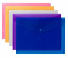 5x High Grade A4+ Coloured Stud Press Wallets Plastic Document Envelope Folders