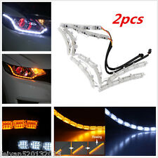 2PCS Dual Color LED Strip Lamp Headlight Switchback Sequential Amber Turn Signal