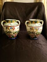 Vintage Glazed Pottery Two Handle Ornate Vases Made In Italy. Lot Of 2