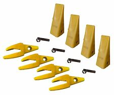 "4 - CAT Style J200 Backhoe Bucket Shanks 1"" Lip, Dirt Teeth - 1U-3202, 119-3204"