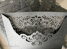 LASER CUT WALLETS CARDS INSERTS INVITATIONS ENGAGEMENT WEDDING DIY GREY