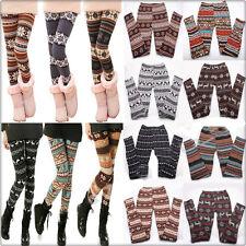 Autumn Winter Warm Women's Nordic Deer Snowflake Knitted Tight Leggings Pants