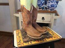 Womens Light Brown Leather Square Toe Boots Rio Grande