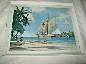 A Vintage Retro 50's English John Stobart Caribbean Foreshore Beach Themed Print
