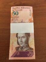 VENEZUELA 50 BOLIVAR 2018 Full Bundle SOBERANOS x 100 Pcs LEOPARD TIGER UNC NOTE