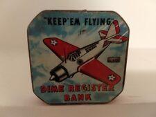 Vintage Rare 1942 Keep Em Flying Dime Register Bank Military WWII 2 Metal Coin