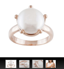 Emulous 11mm White Cultured Freshwater Pearl 18k plated Gold  Crown Style Ring 7