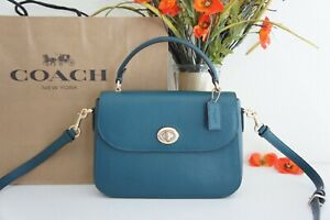 NWT Coach C1557 Marlie Pebble Leather Top Handle Satchel Crossbody Teal Ink $350