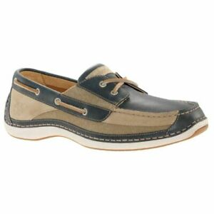Timberland Men's Anapolis Moc Toe Beige / Navy Leather Boat Shoes 74090