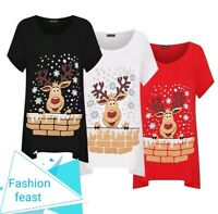 New Womens Plus Size Short Sleeve Reindeer Snowflake Hanky Hem Xmas Long Top