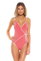 Becca by Rebecca Virtue Swimsuit One Piece Tie Wrap Front Pink White Size L New