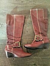 Women's Fossil Wedge Brown Leather Boots. Size: 6.5 Buckle Detailing.