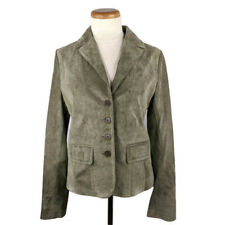 New Eddie Bauer Seattle Suede Womens Green Leather Jacket Size S Equestrian