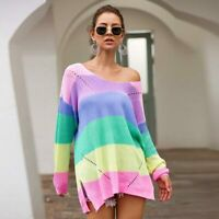 Casual Pullover Long Sleeve Knit Shirt Loose Sweater Womens Knitwear Jumper