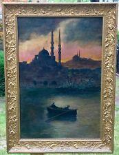 1922 RJ GRUNWALD OIL ON CANVAS VIEW OF ISTANBUL HARBOR ORIENTALIST SCENE - RARE