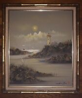 Mid Century Oil / Horsehair Painting Lighthouse Scene Signed By Chen Mao
