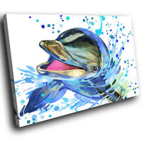 A728 Blue Watercolour Dolphin  Funky Animal Canvas Wall Art Large Picture Prints