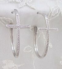 925 Sterling Silver Cross Hoop Earrings Cubic Zirconia Posts Fashion Jewelry NEW