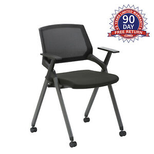 CLATINA Mesh Guest Reception Stack Chairs with Caster Wheels and Arms for Office