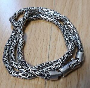 Flecht Kette Bali Chain Wikinger 925er Silber 4mm geflochten Mittelalter Viking