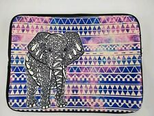 Laptop Macbook Padded Carrying Case Colorful Elephant Purple Blue White Boho
