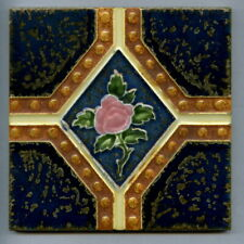 """Relief moulded 6""""sq Art Deco tile by Richards Tiles Ltd, c1930"""