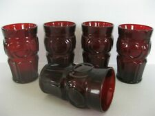 Vintage Ruby Red Tumblers Drinking Glasses Wheaton Glass Bullseye Set 5