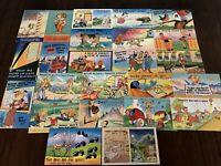 Lot of 25 Vintage Comic Linen Funny Cartoon Postcards Mixed Topics - Unused-h485