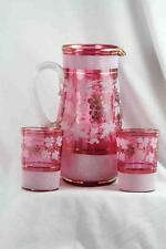 VICTORIAN BLOWN CRANBERRY FRIT PITCHER W/ WHITE CORALENE W/ 2 TUMBLERS