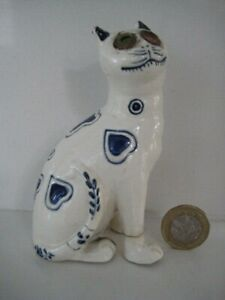 ANTIQUE BLUE & WHITE GALLE STYLE MOSANIC FAIENCE MAJOLICA SMILING CAT GLASS EYE