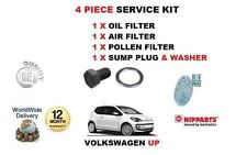 FOR VOLKSWAGEN VW UP 1.0 2012->NEW OIL AIR POLLEN FILTER + SUMP PLUG SERVICE KIT
